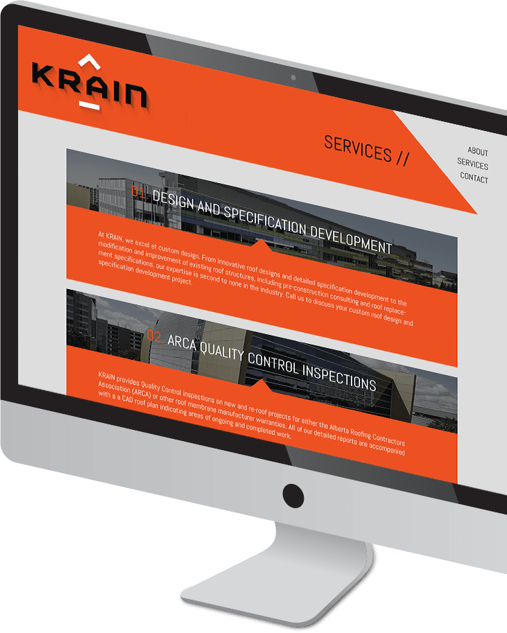 Krain website on a desktop