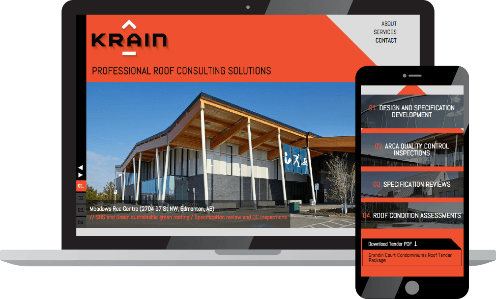 Krain website on laptop and phone