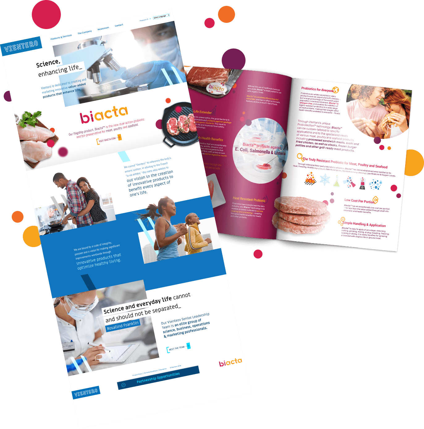 Vientero website and Biacta booklet