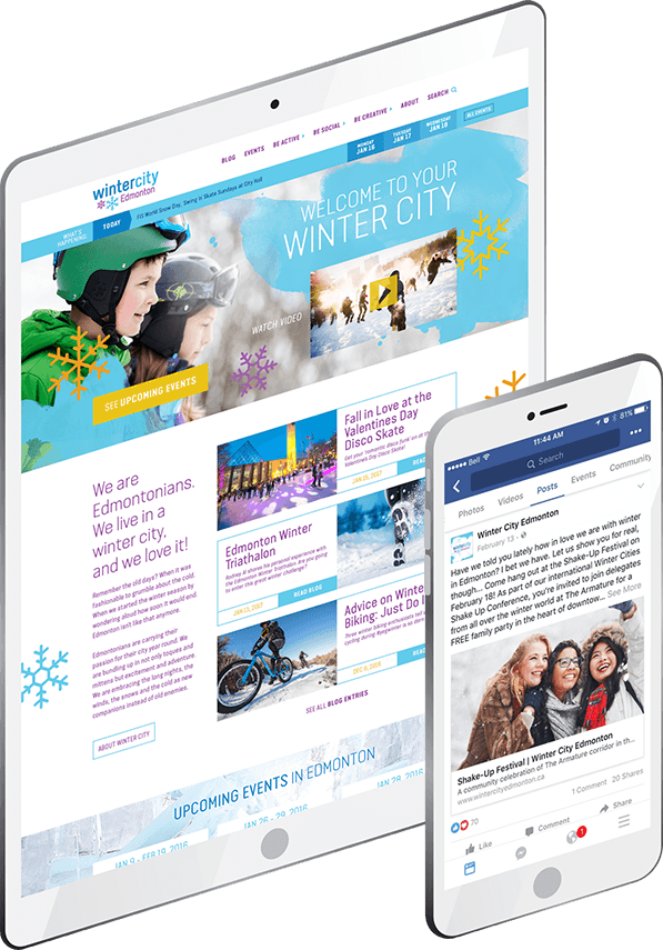 WinterCity website on iPhone