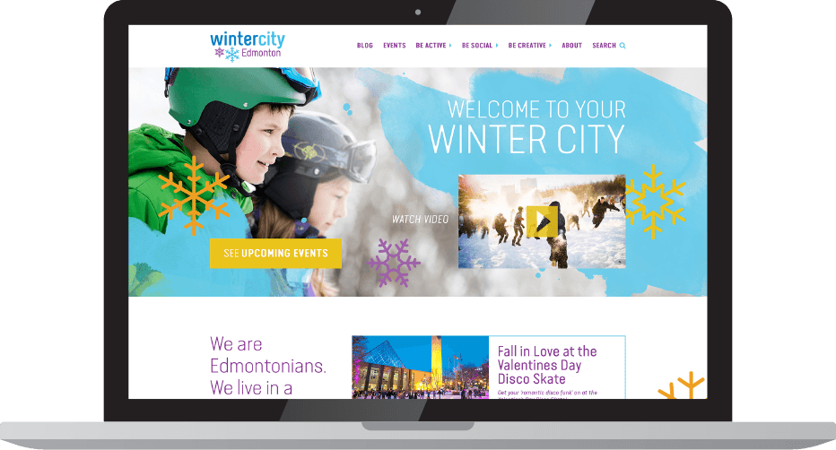 WinterCity website displayed on laptop