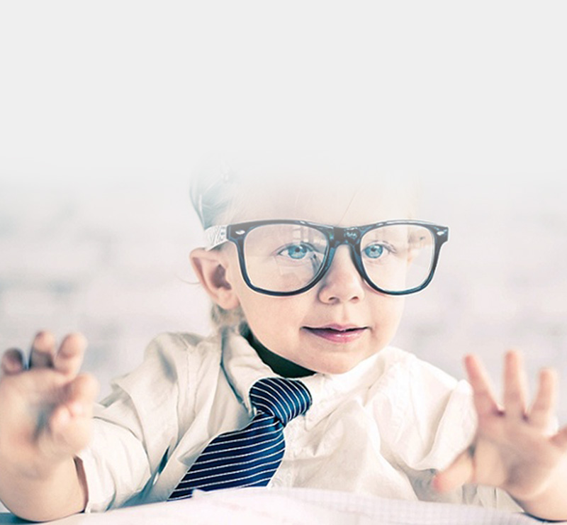 Kid with glasses on